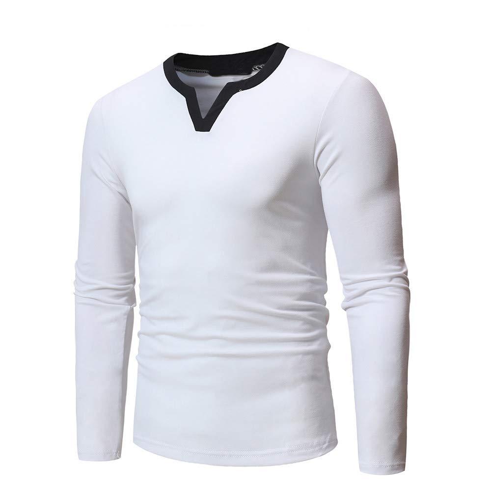 116d03b52 ... WUAI Mens Pullover Sweatshirt Clearance Casual Long Sleeeve Fashion  Slim Fit Solid Sports Fashion Tee Shirt ...