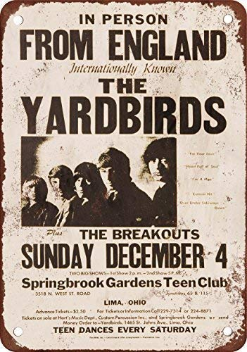- Stevenca Metal Tin Sign 1966 The Yardbirds in Lima Ohio Vintage Retro Aluminum Sign for Wall Decor 8x12 Inch