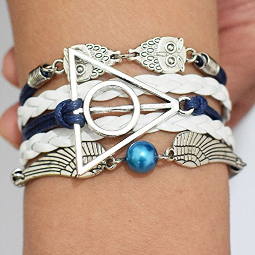 Deathly Hallows Owl Death Snitch Harry Potter Bracelet, Deathly Hallows Owl Death Snitch Harry Potter Bracelet Charm Bracelet, Birthday Present, Gift, Bracelet Everyday Gift
