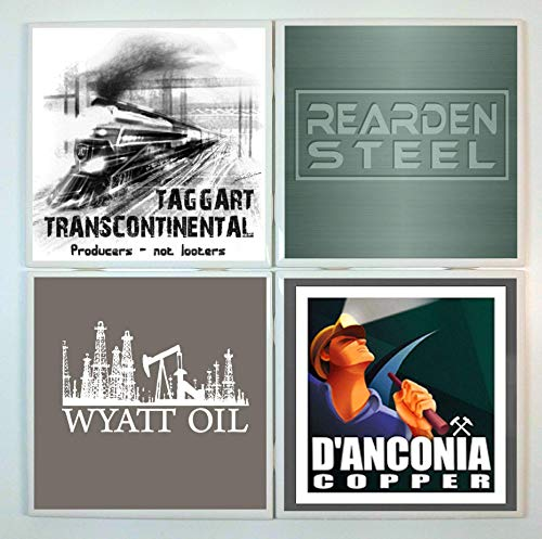 Atlas Shrugged Coasters - set of 4 tile coasters - companies from the book, Ayn Rand (Transcontinental Oil)