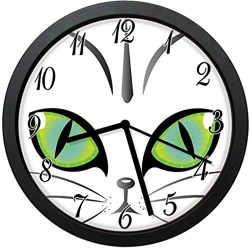 YiiHaanBuy Face of an Adorable Siberian Cat Green Eyes and Whiskers Watchful Animal,10-inch Round Decorative Wall Clock,Silent Non-Ticking,Decorating Each Room,is The Best Gift ()