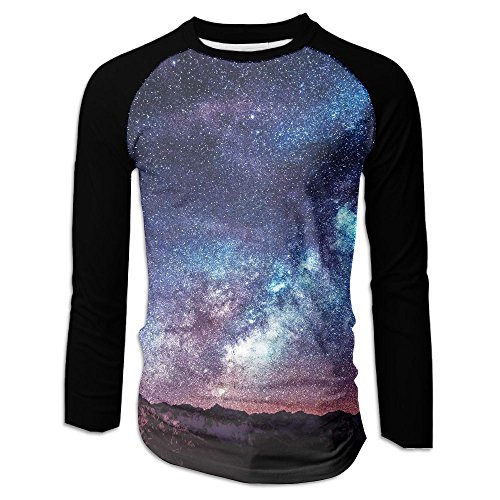 FASHION N WORLD Mens Galaxy Space Casual Raglan Long Sleeve Tshirts Athletic - Shopping Casuarina