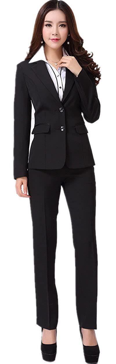 XinAndy Women's Suit Black Jacket & Pant Set 2 Button Long Sleeve