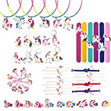 WATINC 60 Pcs Unicorn Party Favors, Rainbow Unicorn Necklace, Bracelets, Rings, Keychains, Hairpin, Birthday Party Supplies, Toys Decoration Novelty Gift for All Ages of Kids(60 Pack)