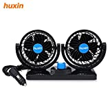 AUTOLOVER Dual Heads 12V DC Electric Car Fan 360 Degree Rotation 2 Speed Strong Wind Low Noise Car Cooling Air Fan-Blow Out Hot Air, Smoke, Odors