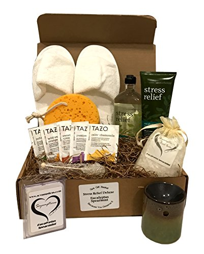 Bath & Body Works Spa Gift Baskets - Aromatherapy Gift Set -Because You Deserve It --Stress Relief -or- Energizing -or- Sleep -or- Sensual Available (Stress Relief - DELUXE Eucalyptus Spearmint)