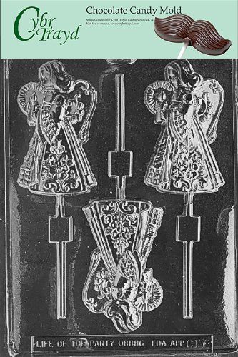 Cybrtrayd Life of the Party C158 Large Angel Chocolate Candy Mold in Sealed Protective Poly Bag Imprinted with Copyrighted Cybrtrayd Molding Instructions