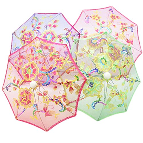 Chige Mini Handmade Flower Pattern Elegant Festival Bridesmaid Wedding Sequin Decor Cotton Lace Parasol Umbrella Pack of 5
