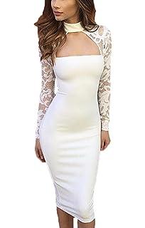 40ceea8f345b Lannister Fashion Vestiti Donna Estivi Eleganti Vintage Vestito in Pizzo  Ginocchio Manica Lunga Collo Halter Tubino