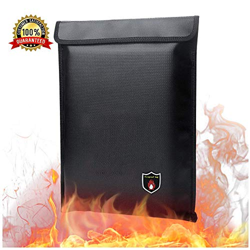 """Fireproof Document Bag,JOZZ 15"""" x 11"""" Water ResistantFile Organizers 2100℉ Fire Resistant Money Envelopes Fireproof Storage for Photo, Documents, Jewelry, Passport and Other Valuables,Black"""