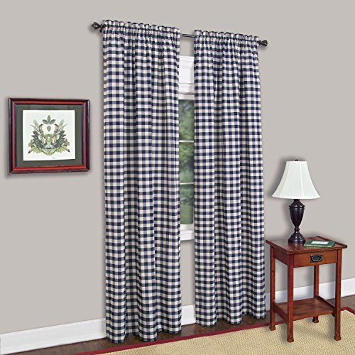 Curtain Panels Red Gingham (Achim Home Furnishings Buffalo Check Curtain Panel, 42-Inch by 84-Inch, Navy)