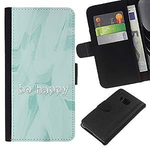 HTC One M9 , la tarjeta de Crédito Slots PU Funda de cuero Monedero caso cubierta de piel ( Be Happy Watercolor Paint Brush Blue Ice)