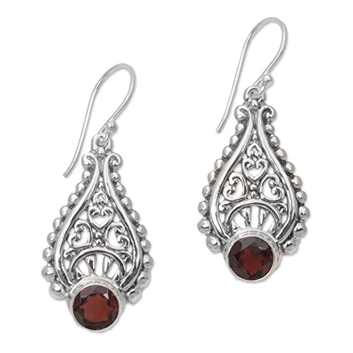 NOVICA Garnet .925 Sterling Silver Dangle Earrings 'Princess Tears in Red'