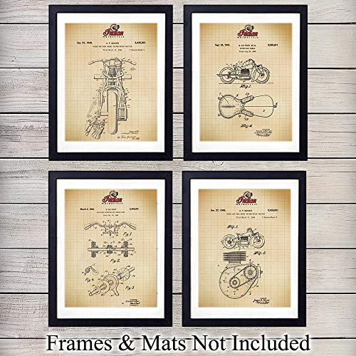 Indian Motorcycle Wall Art Patent Prints - Set of Four (8x10) Vintage Unframed Photos - Great Gift for Men and Bikers - Man Cave Home Decor