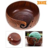 Wooden Yarn Bowl Holder Portable Knitting Crochet Storage Bowls Decorative Tray S/L Durable DIY Yarn Knitting Sewing Tools, Perfect Gift for Mother's Day (L-18-20 cm)