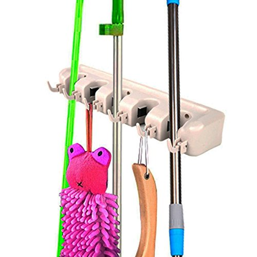 NEW Mop Holder Hanger 5 Position Home Kitchen Storage Broom Organizer Wall Mounted by Unbrande