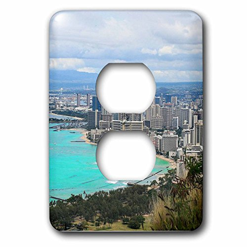 3dRose Cities Of The World - Waikiki Beach In Honolulu, Hawaii - Light Switch Covers - 2 plug outlet cover - In Outlets Waikiki