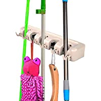 NEW Mop Holder Hanger 5 Position Home Kitchen Storage Broom Organizer Wall Mounted