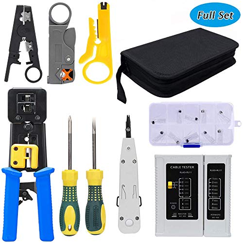 LETB Network Tool Kit Set, Cable Tester Repair Tools Wire Stripping Cutter, Coax Crimper Plug Crimping, Punch Down RJ11 RJ45 Cat5 Cat6 Wire Data Detector Stripper, (A) ()