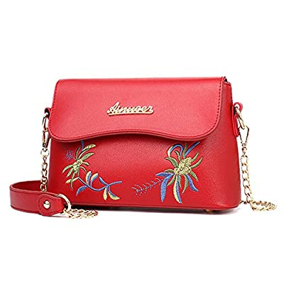 Turelifes Leather Crossbody Bags Small Shoulder Purse Cute Flower Embroidered Zipper Bag Chain Strap Wallet for Women (Red)