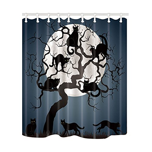 NYMB Black Cats on Tree in Night with Full Moon for Halloween Shower Curtain 69X70 inches Polyester Fabric Bathroom Fantastic Decorations Bath Curtains Hooks Included -