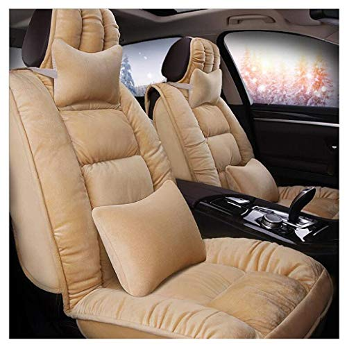 KBZW Car Seat Cover Sets, Winter Thicken Full Surrounded Short Plush/Down Cotton Car Seat Cushion for Front and Rear 5-Seats with Headrest and Lumbar Pillow (Color : Beige)