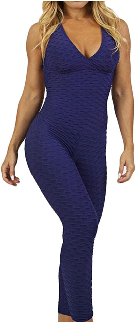 Gocgt Womens Tight Yoga V Neck Jumpsuit Sleeveless Romper Playsuit