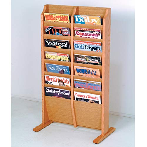 Wooden Mallet MR14-FSBH Cascade Free Standing 14 Pocket Magazine Rack - Black44; Mahogany & Light Oak