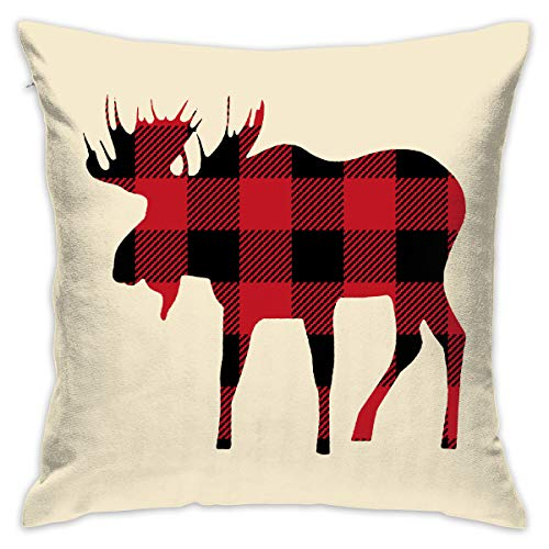Yangkun Throw Pillow Covers Buffalo Plaid Moose Lumberjack Red Black 18 X 18 Inches Cushion Sham for Couch Bed Sofa Painted Colorful Geometric Print Daily Decorations for Home D¡§|cor Square Coastal -