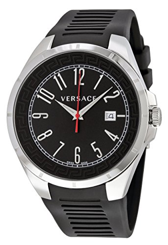 Versace V-Man Black Dial Black Rubber Mens Watch P7Q99D009 S009