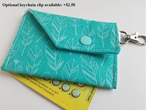 Birth Control Case Sleeve or Small Card Carrier with Snap Closure -Grey flowers on aqua