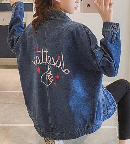 Chaqueta Bordado de Azul Chaqueta Irregular Mujeres Mangas Mezclilla Primavera Largas SnvrUw1qS