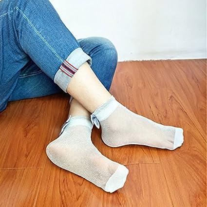 Smartrich 1 par de calcetines de seda brillante con lazo delgado para mujer, tobillo suave