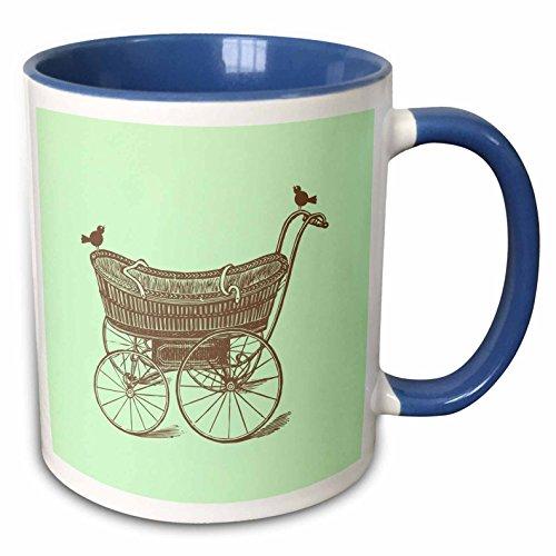 3dRose Russ Billington Nursery Designs - Vintage Baby Carriage with Birds in Mint Green and Brown - 15oz Two-Tone Blue Mug (mug_219372_11)