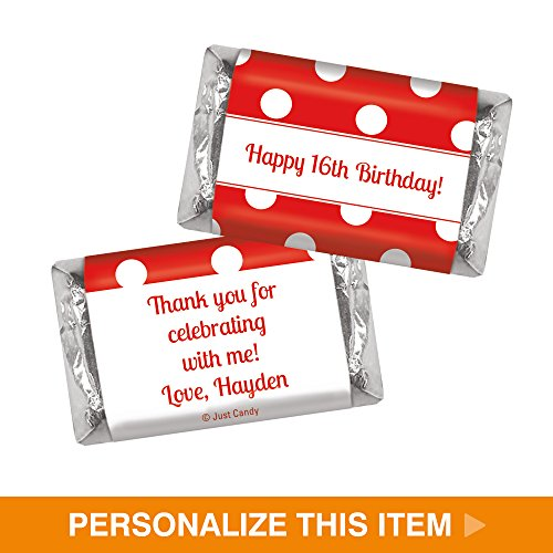 Filled White Chocolate - Personalized Candy Birthday Favors Dot Filled Day HERSHEY'S MINIATURES Wrappers - Red White (100 Wrappers)