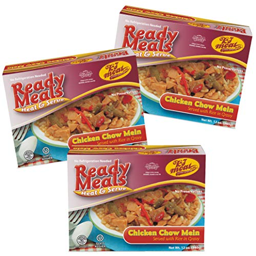 - Kosher Meals Ready to Eat, Chicken Chow Mein Served with Rice in Gravy (Microwavable, Shelf Stable, No Refrigeration) - Gluten Free, Dairy Free, Egg Free - Glatt Kosher (12 ounce - Pack of 3)