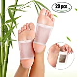 Foot Pads, LuckyFine Bamboo Vinegar Charcoal Foot Patch, 20 Pcs Relieve Tired Foot Pads, Pain Relief Foot Care Relaxing Sheet Help Deep Sleep