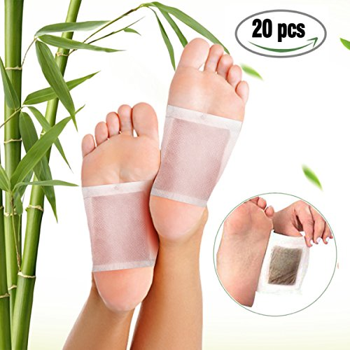 Foot Pads, LuckyFine Bamboo Vinegar Charcoal Foot Patch, 20 Pcs Relieve Tired Foot Pads, Pain Relief Foot Care Relaxing Sheet Help Deep Sleep Bamboo Vinegar Foot Patch