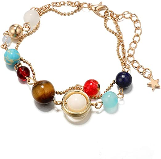 GUAngqi Exquisite Galaxy Planets Solar System Stars Beads Chain Double Layer Anklet Elegant Yoga Beach Anklet Bracelets Foot Jewelry,Gold
