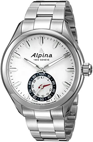 Alpina Men s AL-285S5AQ6B Horological Smart Analog Display Swiss Quartz Silver Watch