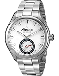 Alpina Mens AL-285S5AQ6B Horological Smart Analog Display Swiss Quartz Silver Watch