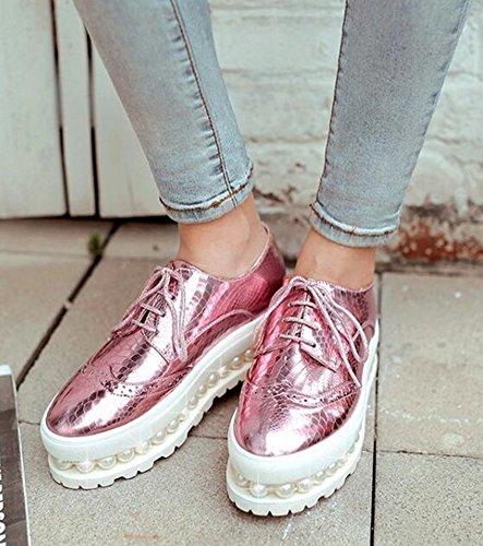 Easemax Kvinna Avslappnad Pärlstav Mitten Kil Klackar Plattform Snörning Sneakers Rosa