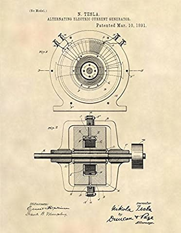 Nikola Tesla AC Generator Patent Prints - Patent Art Poster (8.5 x 11