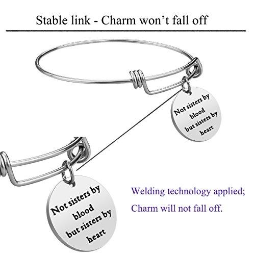 iJuqi Charm Charm Bracelet - 3 PCS Stainless Steel Expendable Inspirational Bangle Bracelets BFF Jewelry Set Graduation Gifts Birthday Gifts (3 Pcs- White) by iJuqi (Image #5)