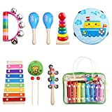 Kids Musical Instruments, Musical Instruments Set with Xylophone for Kids, Children Percussion Rhythm Band Gift Set, Musical Games Tambourine Present with Carrying Bag