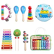 Kids Musical Instruments, Childom Musical Instruments Set with Xylophone for Kids, Children Percussion Rhythm Band Sets, Musical Games Tambourine Present with Carrying Bag