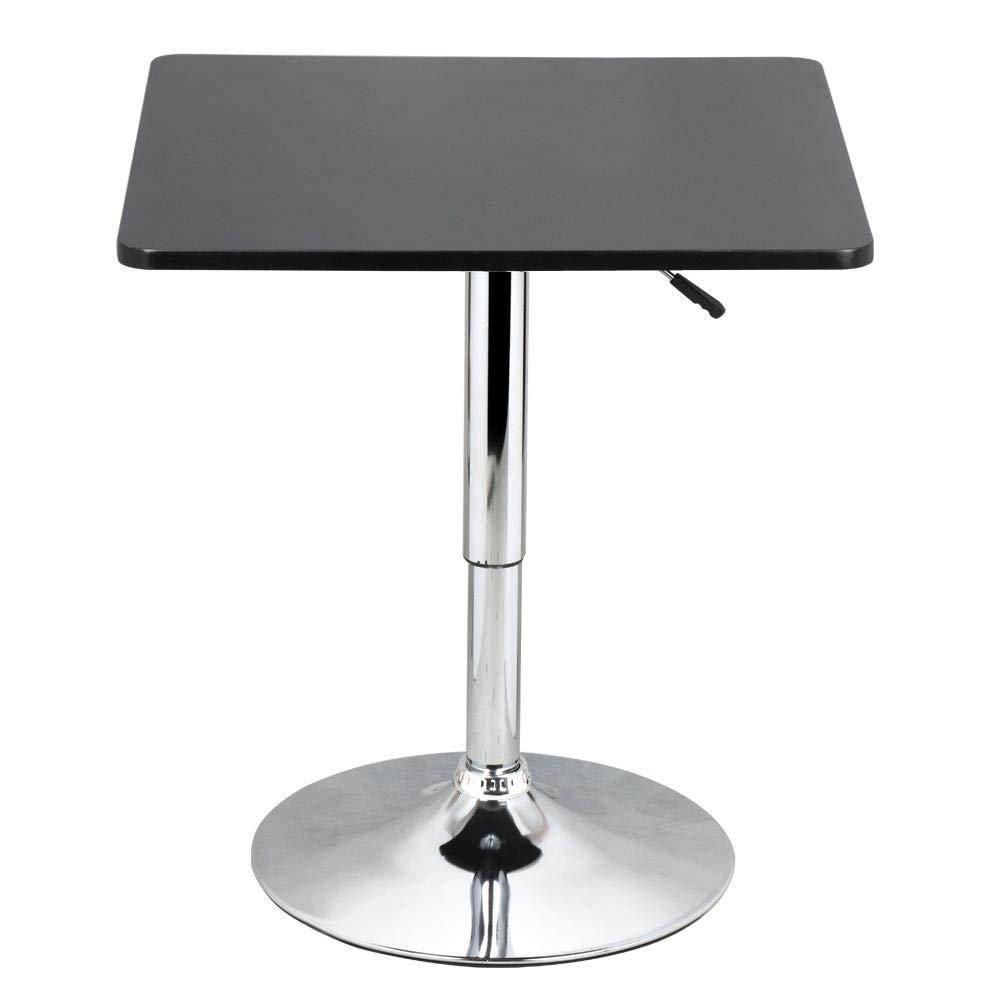 Yaheetech Tavolo Tavolino alto da bar girevole moderno da cucina Altezza regolabile 70-90 cm Nero (piano quadrato)