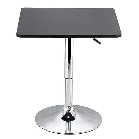 Tavolo Altezza 90.Yaheetech Tavolo Tavolino Alto Da Bar Girevole Moderno Da Cucina Altezza Regolabile 70 90 Cm Nero Piano Quadrato