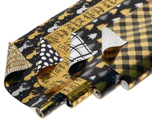 Christmas Gift Wrapping Paper, 4-Roll, Black Gold Reindeer Trees Plaid Script by Awesome Shopper