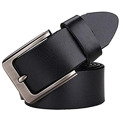 """JingHao Belts for Men Genuine Leather Casual Belt for Dress Jeans Regular Big and Tall Black Brown Size 28""""-63"""""""